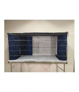 """Parure de cage """"Double"""" - Bleu Chiffoné - avec protection avant"""